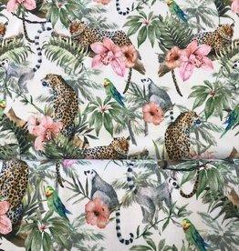 Qjutie Tricot katoen digital jungle animals