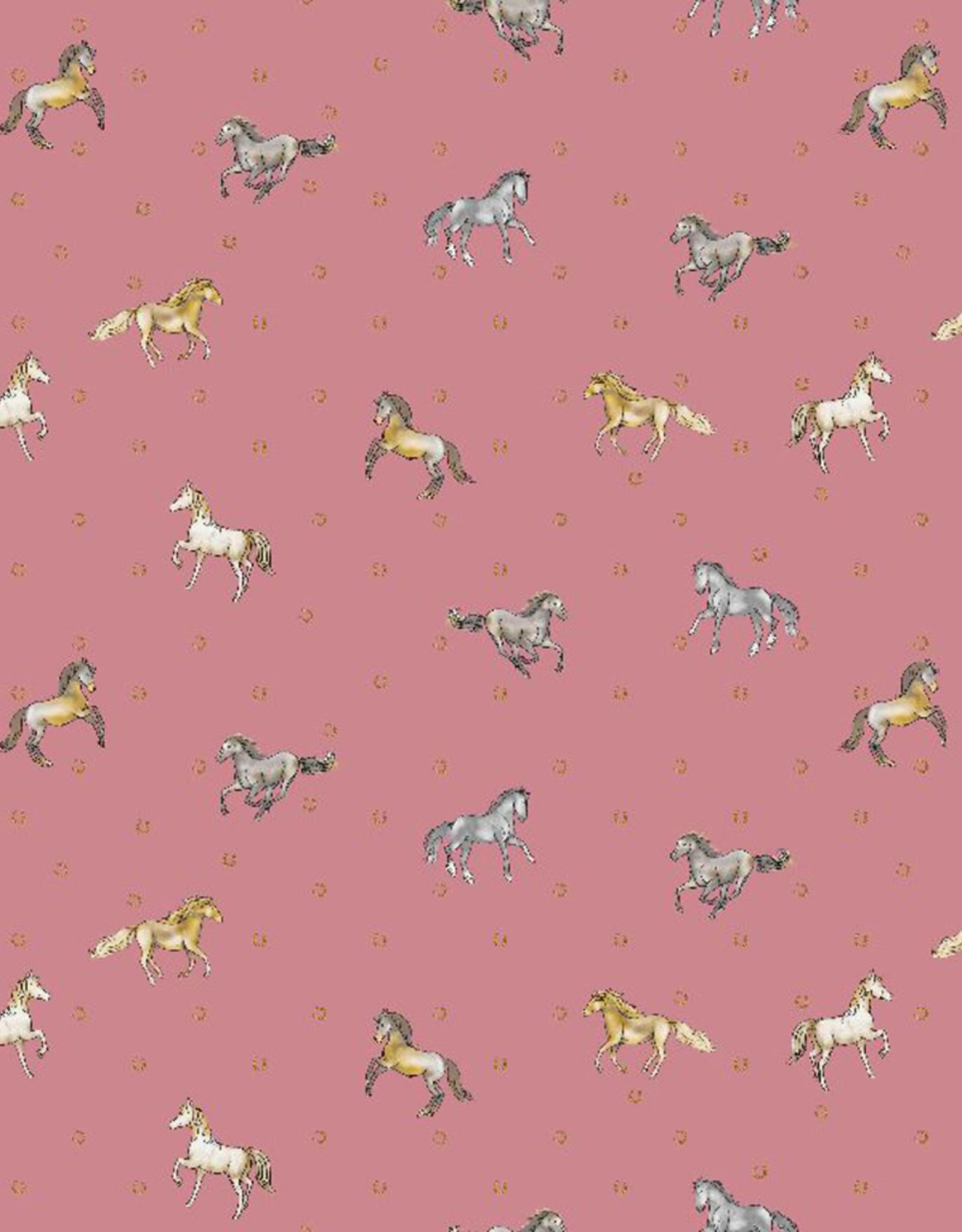 Poppy Katoen good luck horses brushed roze