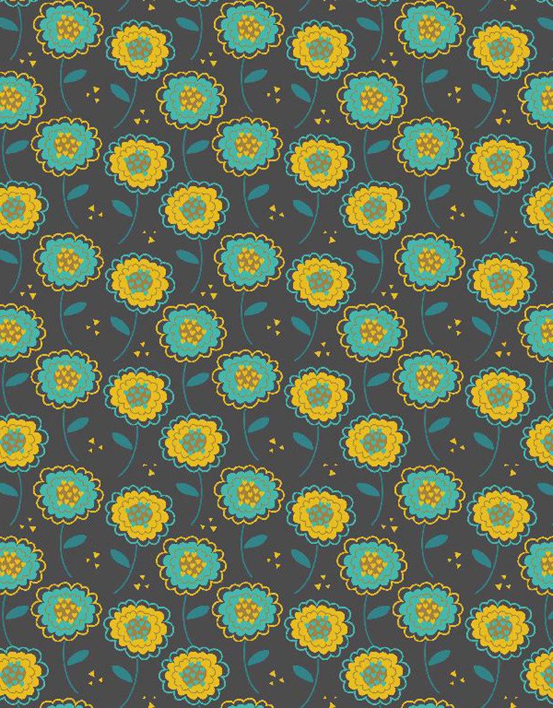 Poppy Tricot katoen sweet flowers blauw groen