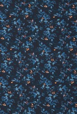 Swafing *Tricot katoen Suri flowers blauw