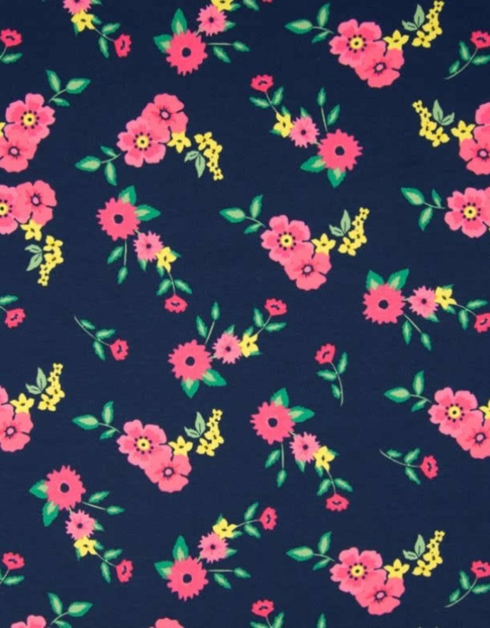 Tricot katoen flowers navy