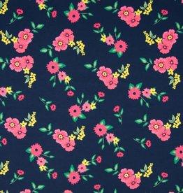 *Tricot katoen flowers navy