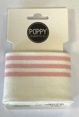 Poppy Cuffs 3 strepen wit/roze 135*7cm