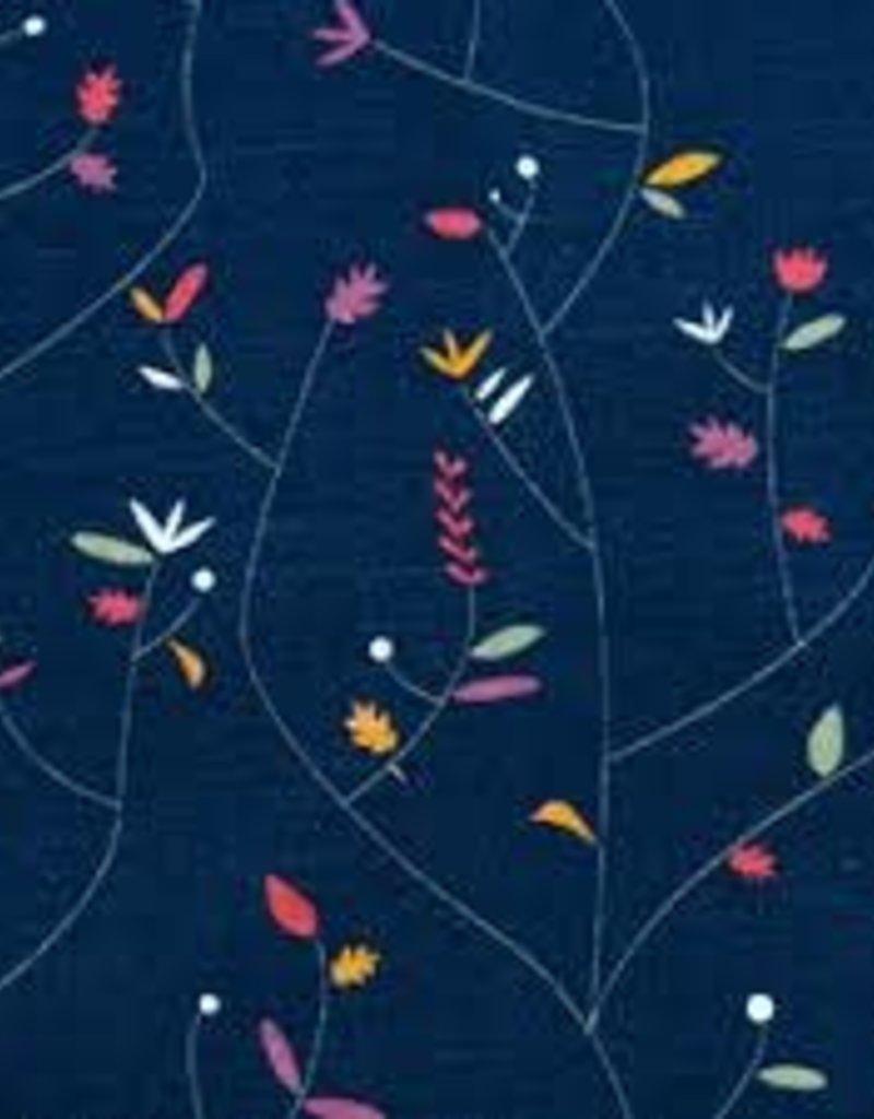 Swafing French Terry Sweat kea flowers blue