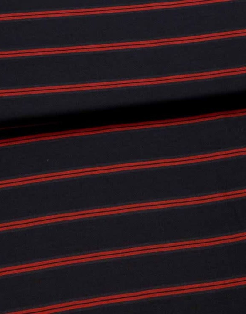 Fibre Mood Viscose mix stripes navy rood