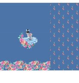 Stenzo Tricot katoen paneel ballet blauw