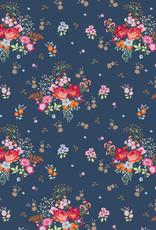 Poppy Tricot glitter field of flowers navy