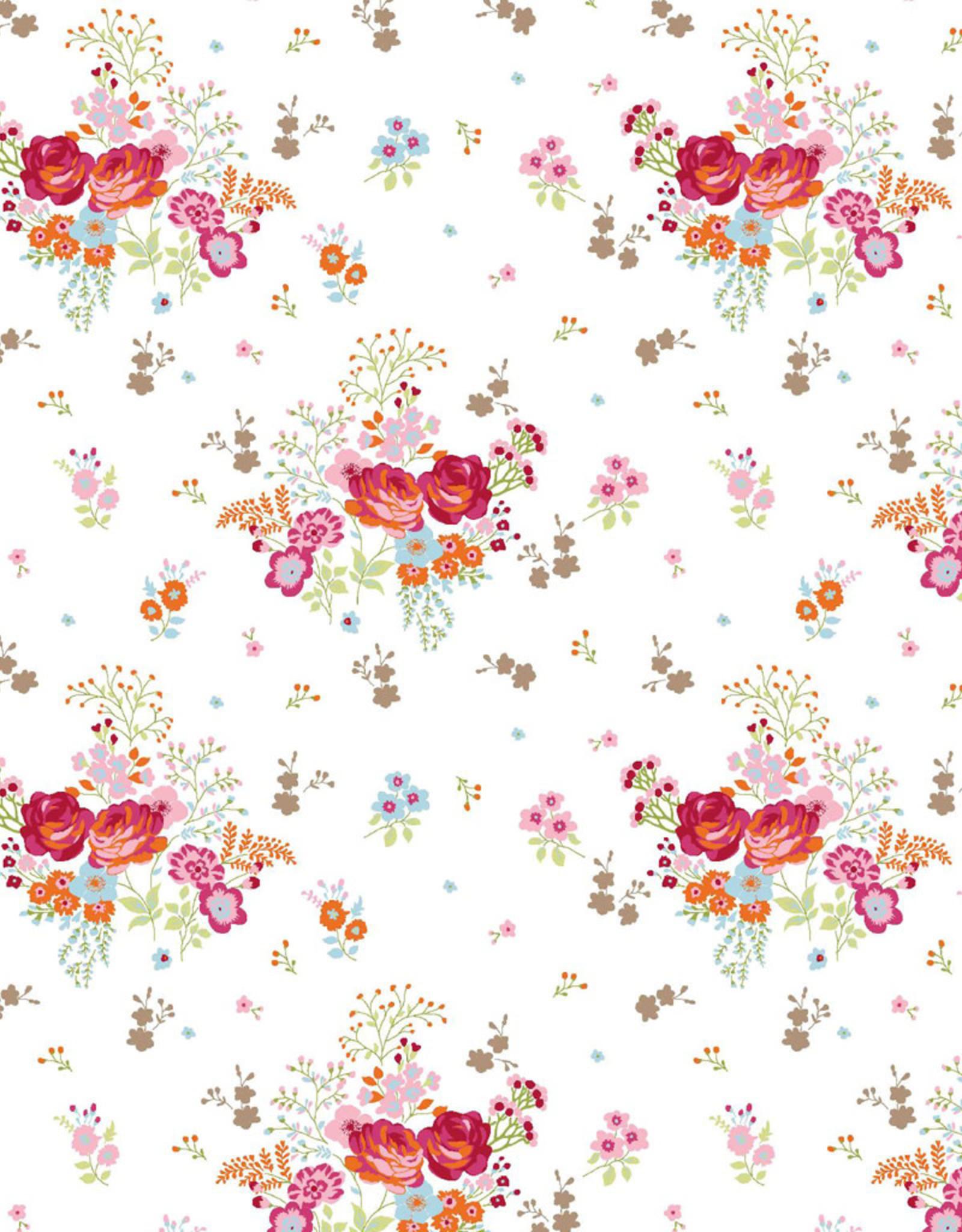 Poppy Tricot glitter field of flowers off white