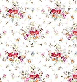 Poppy Tricot glitter field of flowers white