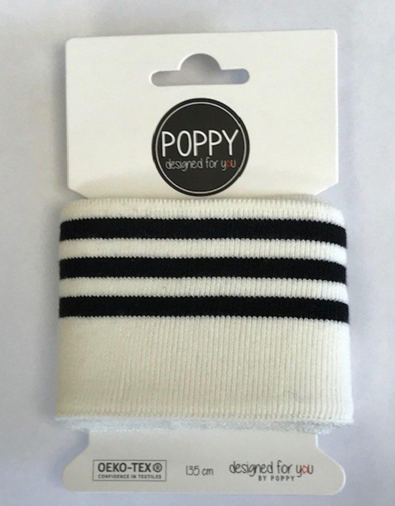 Poppy Cuffs 3 strepen wit/zwart 135*7cm