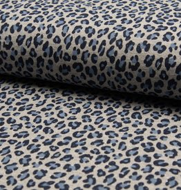 French terry glitter leopard blauw