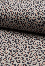 French terry glitter leopard roze