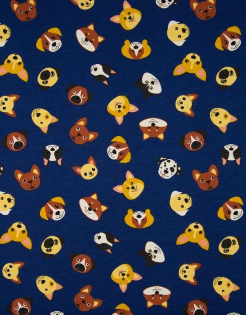 Tricot katoen dogs blauw