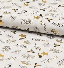 Katoen Poplin birds gold foil