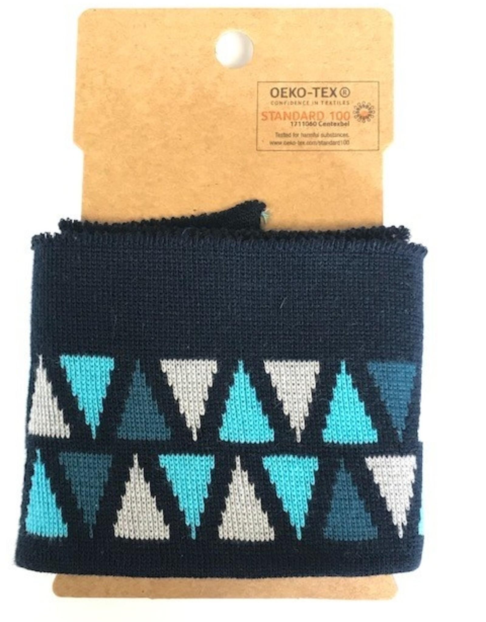 Cuffs driehoek blauw-grijs 110*7cm