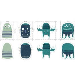 Katia Tricot katoen panel monsters blauw groen