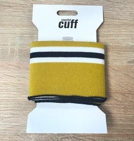 Cuffs strepen oker wit zwart 135*7cm