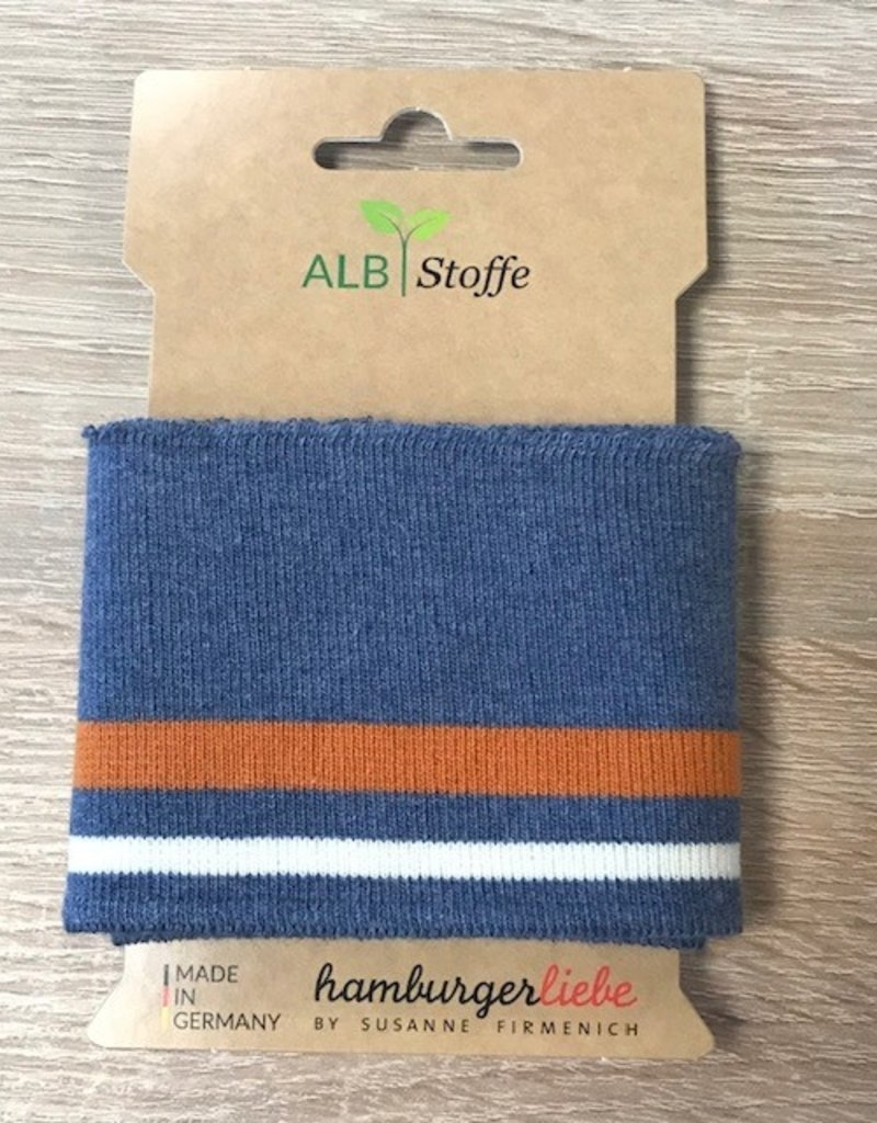 ALB Stoffe Cuffs strepen jeans roest creme 110*7cm