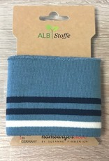 ALB Stoffe Cuffs strepen jeans navy creme 110*7cm