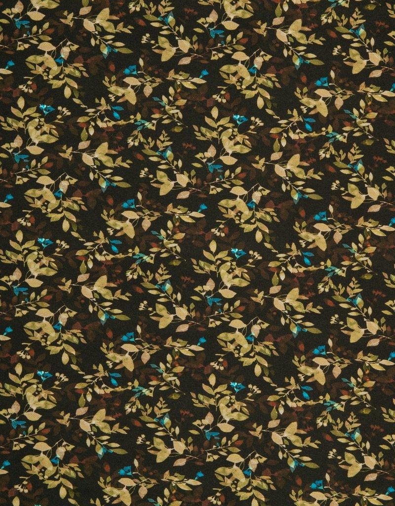 Swafing Tricot katoen Suri flowers bruin groen