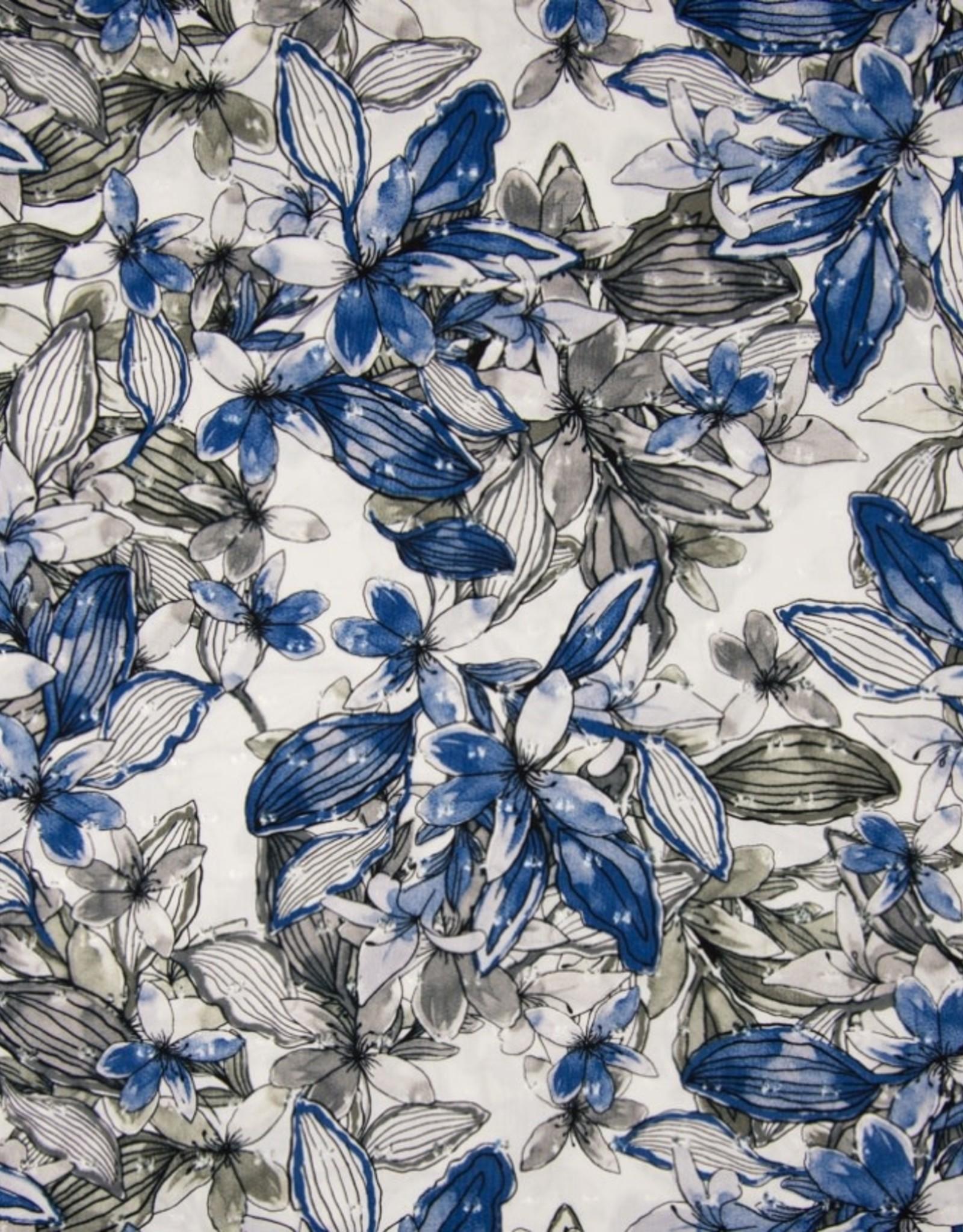 *Viscose dobby flowers white blue