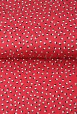 Tricot katoen dots rood