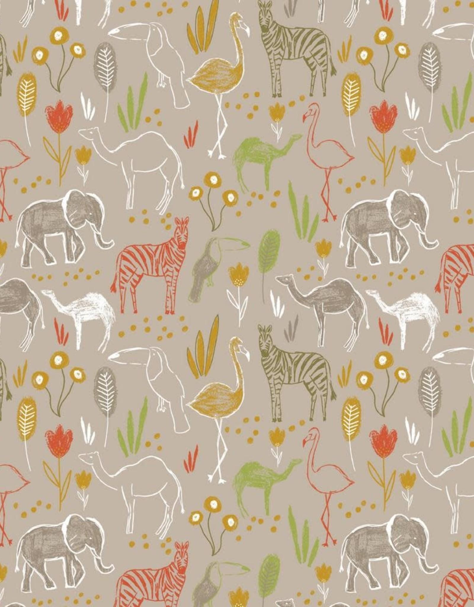 Poppy Katoen Safari grijs