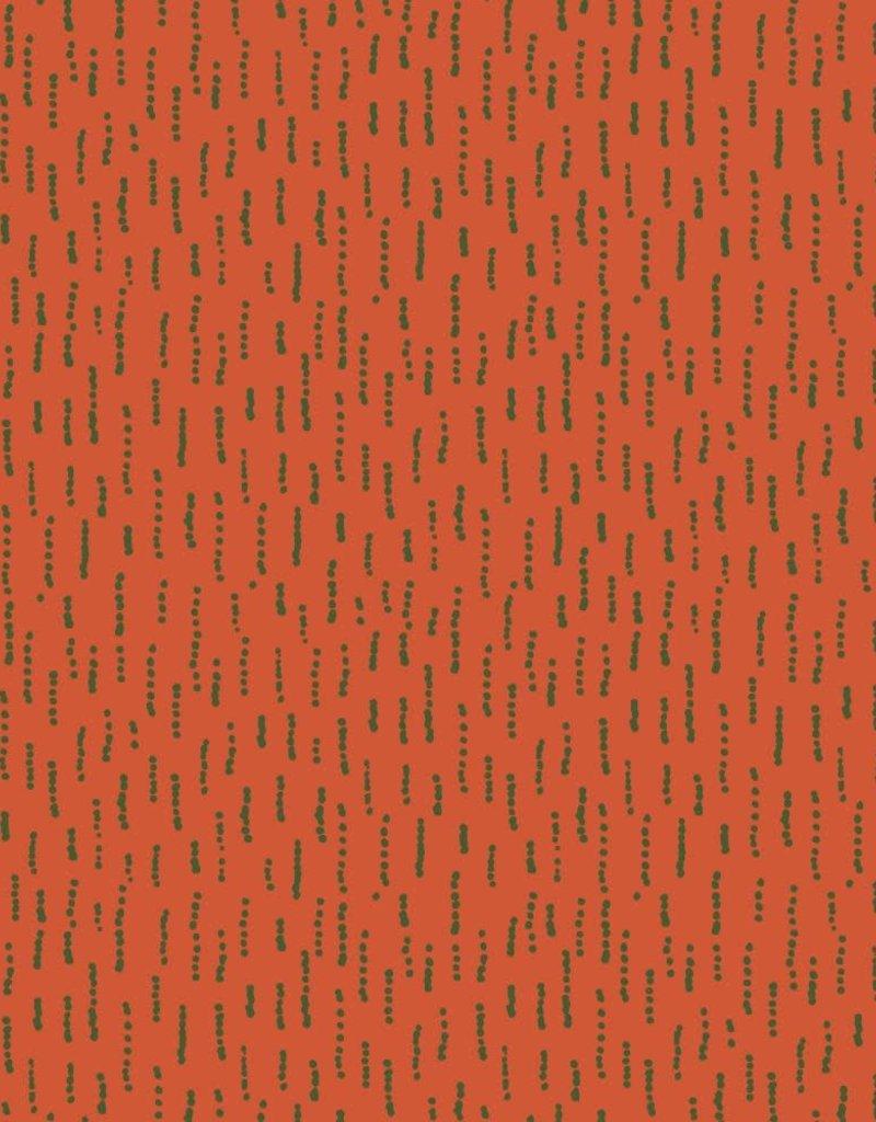 Poppy French terry funky stripes oranje