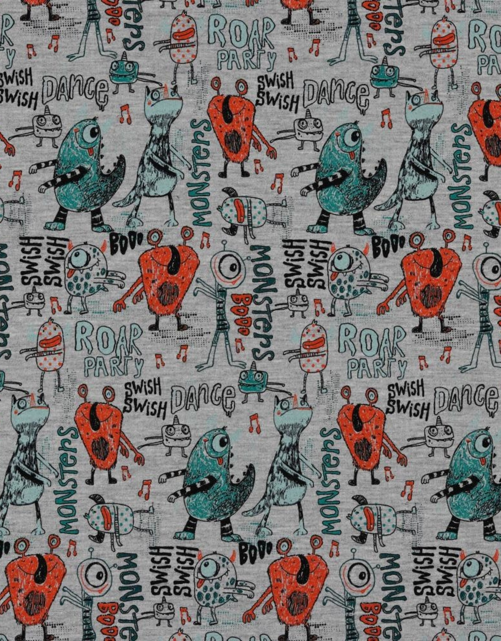 Poppy French terry dancing monsters grijs