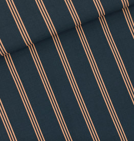 See You at Six Viscose Rayon - Three Lines Peach - M - India Inktblauw - R