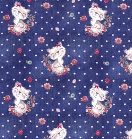 French terry lovely cats navy