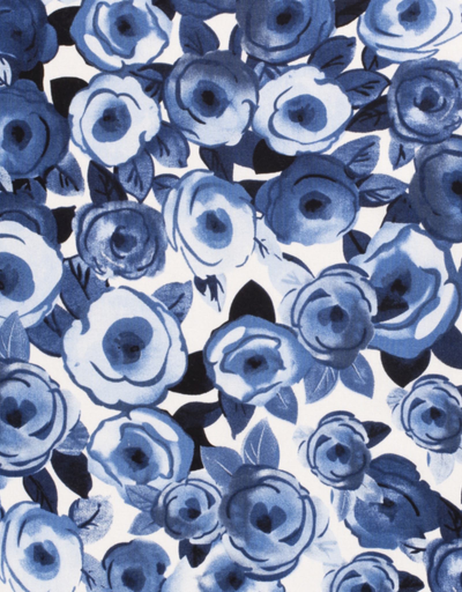 *Viscose linnen bedrukt flowers cobalt