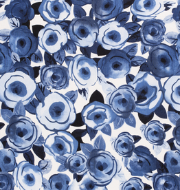 Viscose linnen bedrukt flowers cobalt