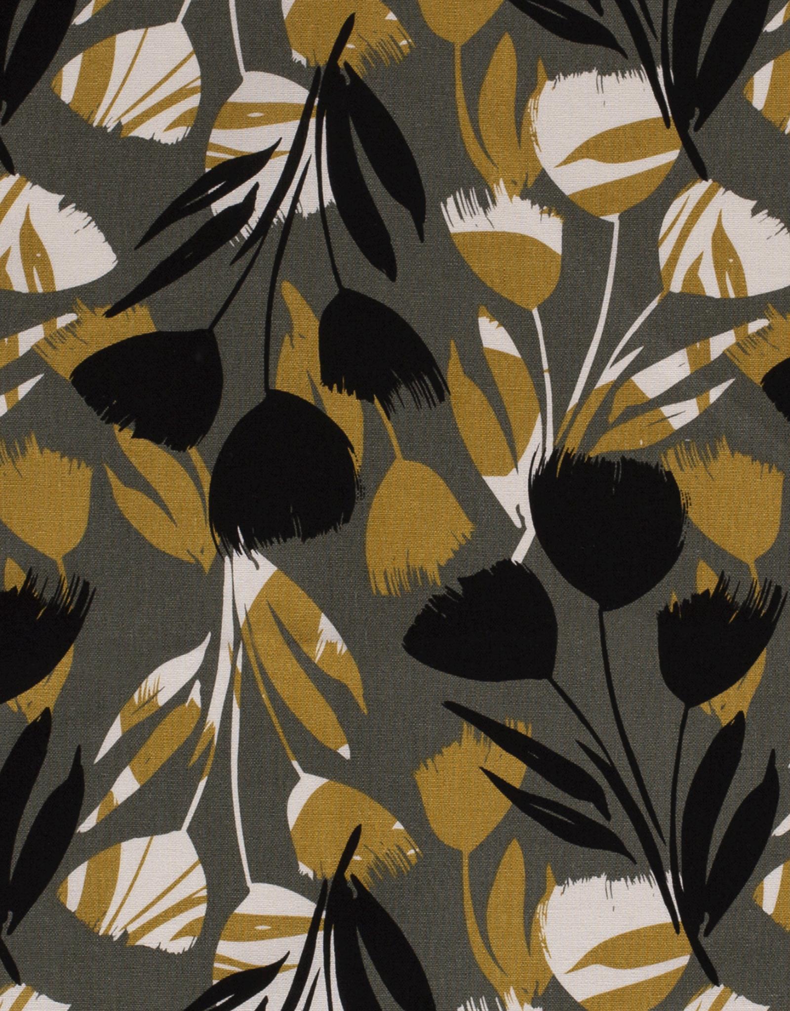 Viscose linnen flower olijf