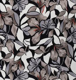 COUPON Cotton Satin flowers taupe 60*140cm