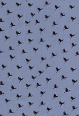 *Viscose spandex birds blauw