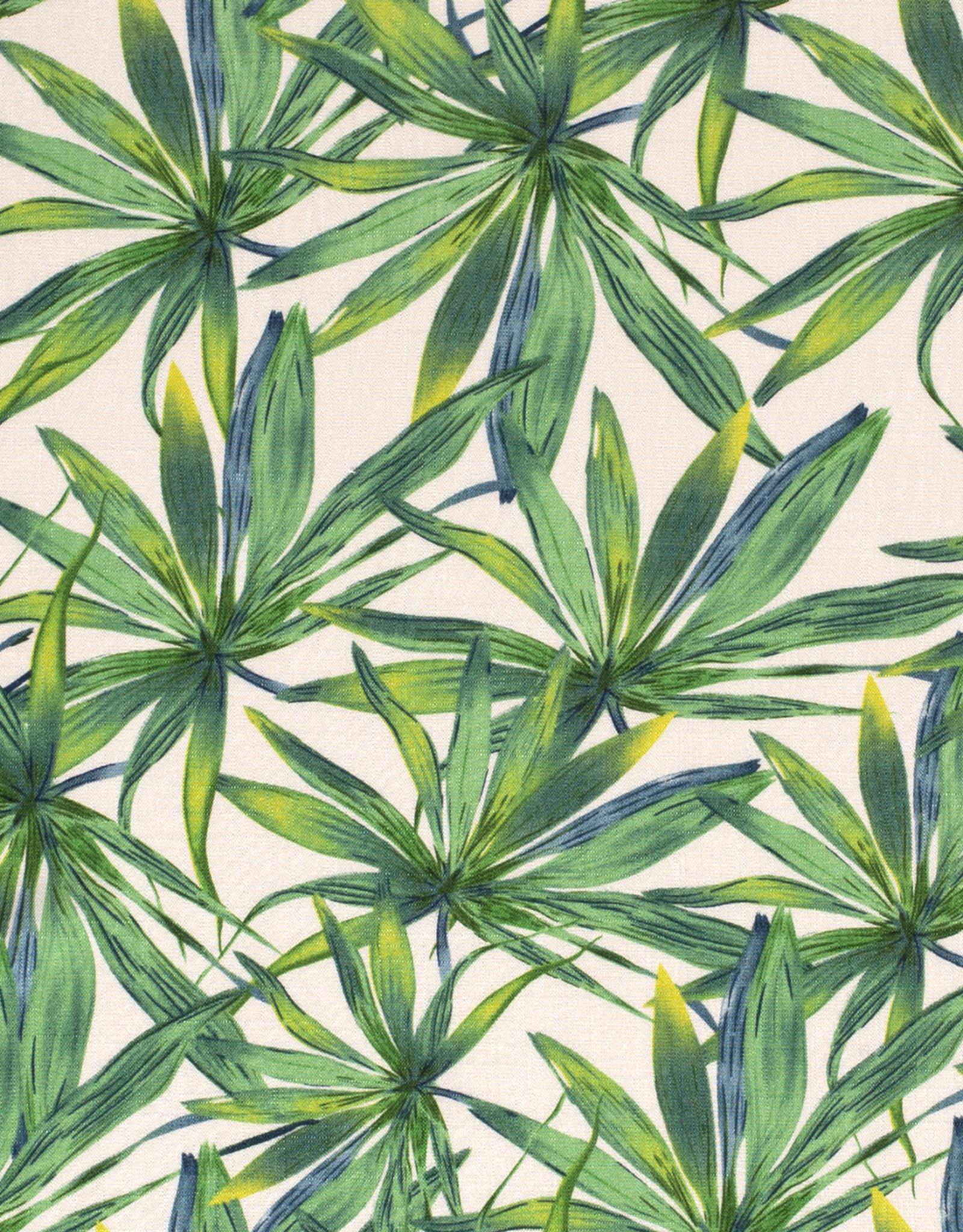 Viscose spandex leaves wit groen