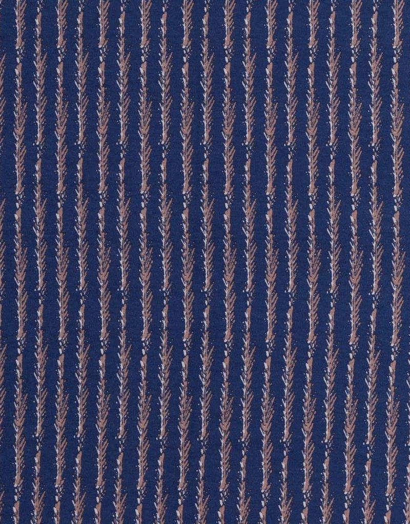 Swafing Viscose tricot Senna bushes stripes navy