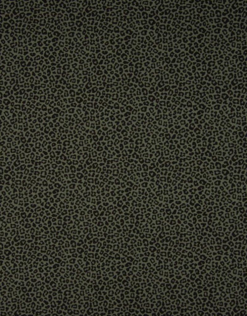 Qjutie Tricot katoen leopard olive