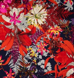 Viscose twill flowers navy orange