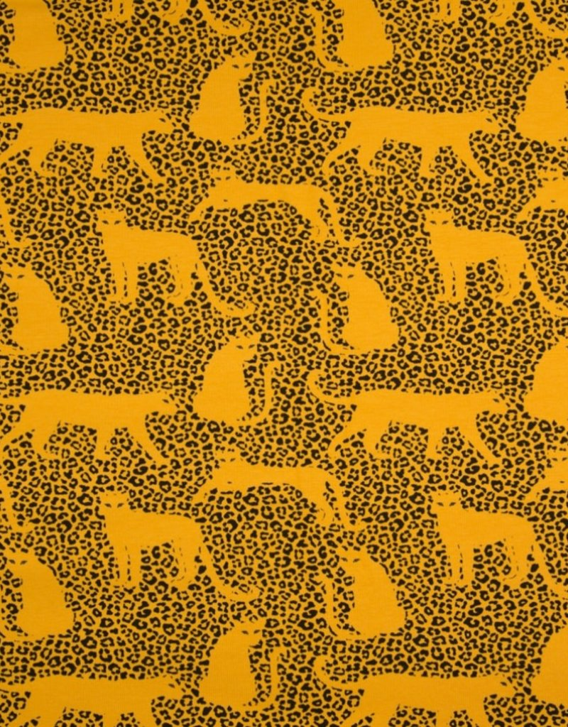 French Terry leopard yellow