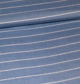 viscose mix blauw lurex stripe