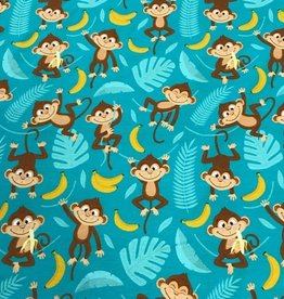 Swafing Tricot katoen Jesse monkey banana teal