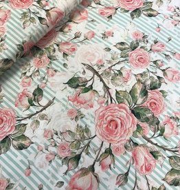 Swafing Viscose flowers strepen mint
