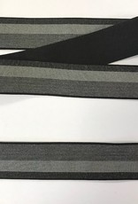 Elastiek grijs-zwart sierband 30mm
