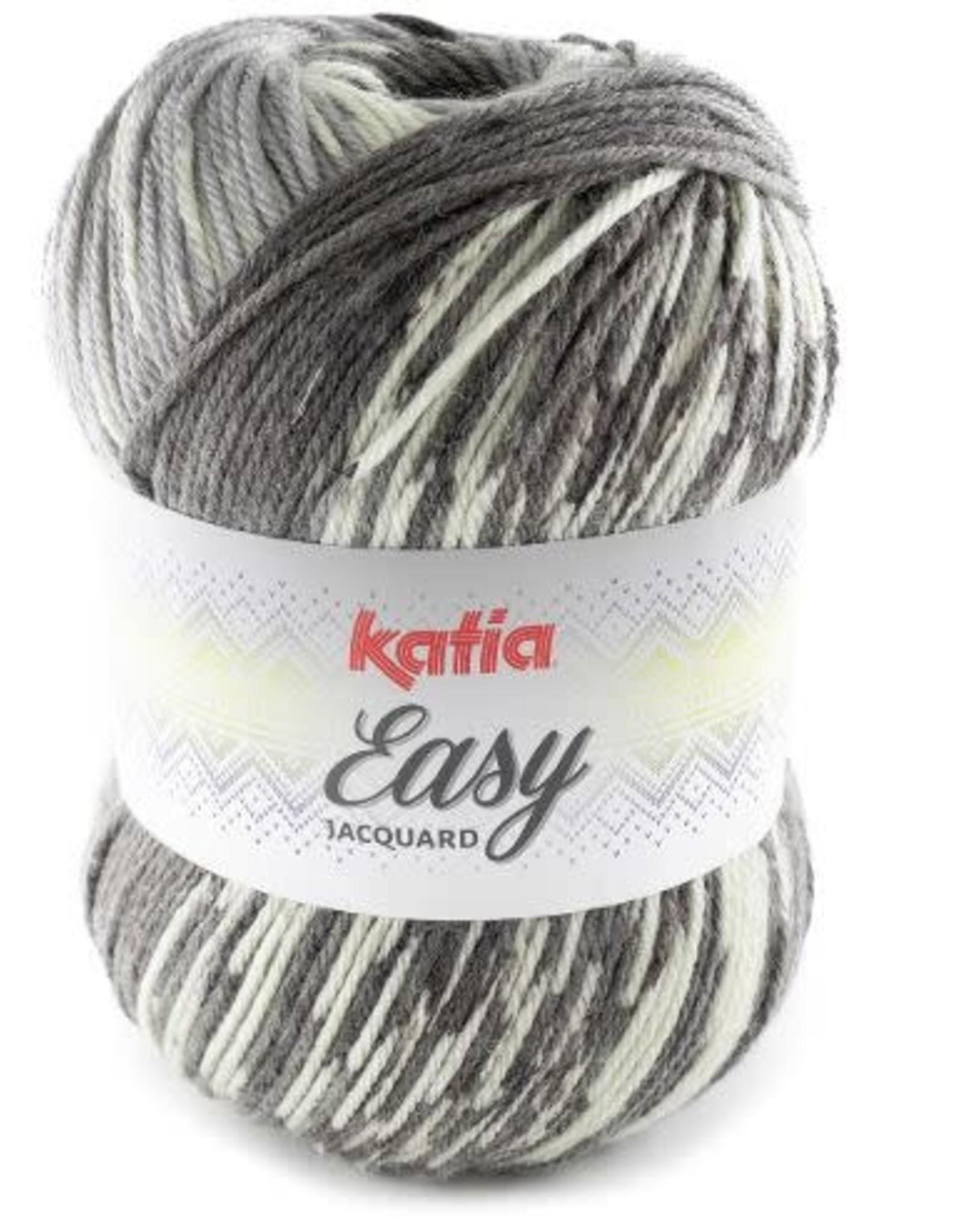Katia Garen Easy Jacquard 308 grijs-antraciet