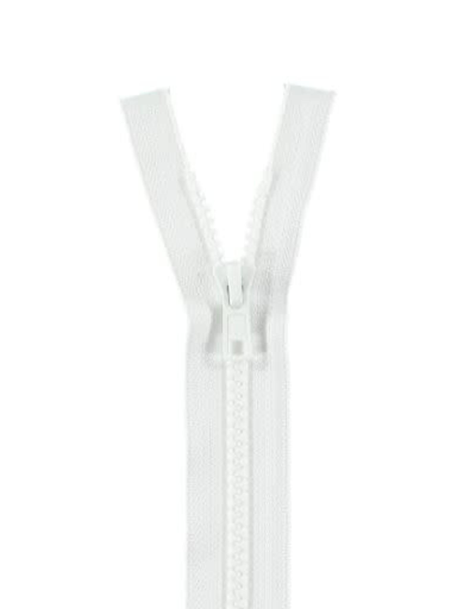 YKK BLOKRITS 5 DEELBAAR wit 501-55cm