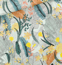 See You at Six *Viscose - Tropical flowers - krijtblauw
