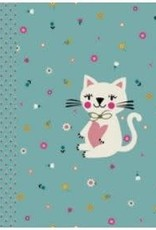 Poppy *Tricot katoen paneel playful cat mint