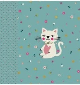 Poppy Tricot katoen paneel playful cat mint